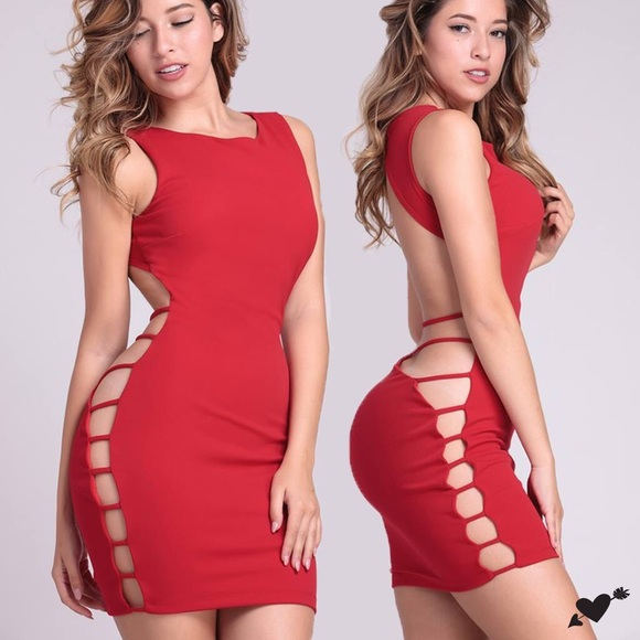 c89d0722a9f RED HOT OPEN BACK BODYCON MINI DRESS